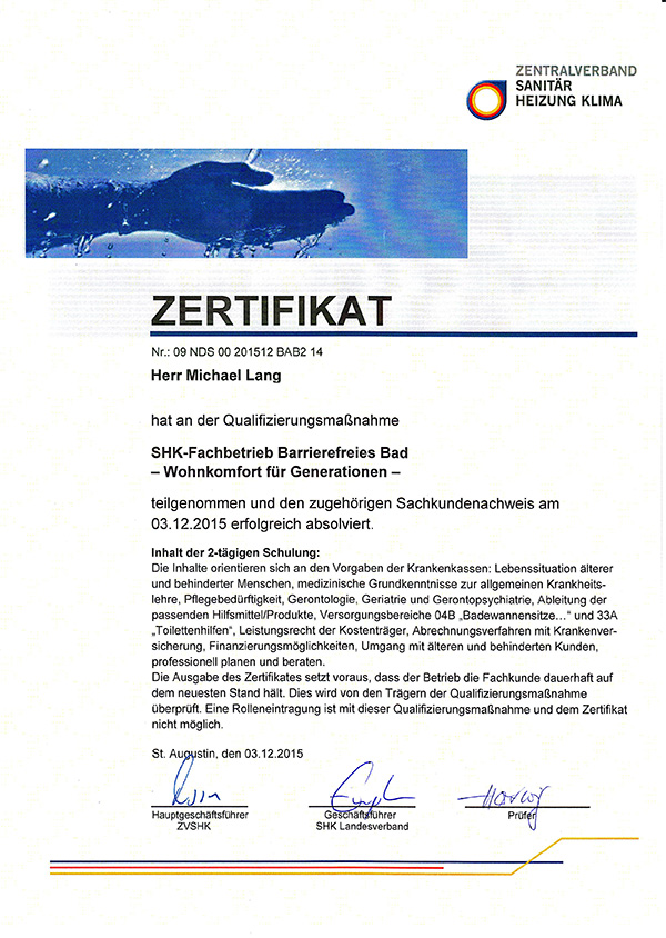 Zertifikat: SHK Fachbetrieb Barrierfreies Bad